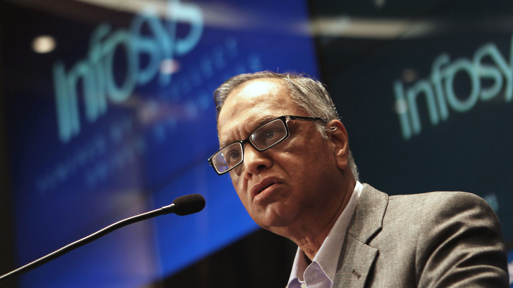 Founding member of Infosys, N.R. Narayana Murthy, speaks at a press conference at the company's headquarter in Bangalore on June 1, 2013. Infosys on reappointed co-founder N.R. Narayana Murthy to lead the Indian outsourcing giant two years after he retired, as the company grapples with weak earnings and falling market share. AFP PHOTO/ Manjunath KIRAN